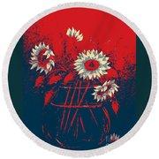 Hope Sunflowers  Round Beach Towel