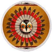 Hopi Owl Mask Round Beach Towel