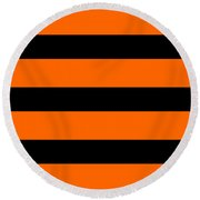 Horizontal Black Inside Stripes 03-p0169 Round Beach Towel