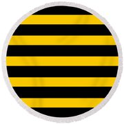 Horizontal Black Outside Stripes 05-p0169 Round Beach Towel