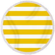 Horizontal White Inside Stripes 05-p0169 Round Beach Towel