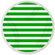 Horizontal White Inside Stripes 09-p0169 Round Beach Towel