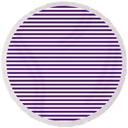Horizontal White Outside Stripes 30-p0169 Round Beach Towel