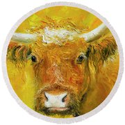 Horned Cow Painting Round Beach Towel