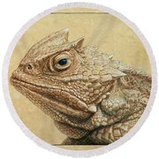 Horned Toad Round Beach Towel by James W Johnson
