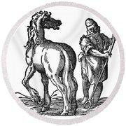 Horse & Groom Round Beach Towel