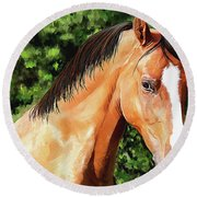 Horse 2 August 2016 Round Beach Towel