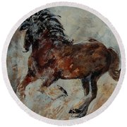 Horse 561 Round Beach Towel