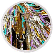 Horse Abstract Brown And Blue Round Beach Towel