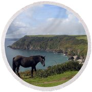 Horse Along Coastal Path Cornwall Round Beach Towel