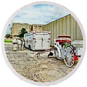 Horse And Buggie Round Beach Towel