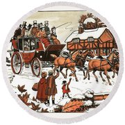 Horse And Carriage In The Snow Round Beach Towel