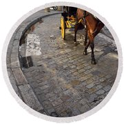 Horse And Carriage On Cobblestoned Alvarez Quintero Street In Th Round Beach Towel