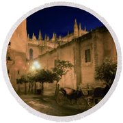 Horse And Carriage Seville Spain Round Beach Towel
