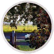 Horse And Flower Round Beach Towel