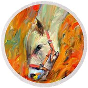 Horse And Grass Round Beach Towel