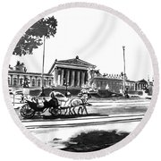 Horse And Parliament Round Beach Towel