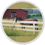 Horse And The Barn Round Beach Towel