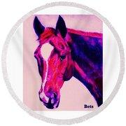 Horse Art Horse Portrait Maduro Deep Pink Round Beach Towel