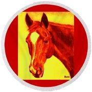 Horse Art Horse Portrait Maduro Deep Yellow And Orange Round Beach Towel