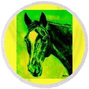 Horse Art Horse Portrait Maduro Green Black And Yellow Round Beach Towel