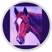 Horse Art Horse Portrait Maduro Pink And Purple Round Beach Towel