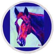 Horse Art Horse Portrait Maduro Psychedelic Round Beach Towel