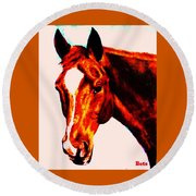 Horse Art Horse Portrait Maduro Red With Yellow Highlights Round Beach Towel
