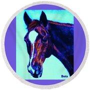 Horse Art Horse Portrait Maduro Striking Purple Round Beach Towel