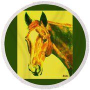 Horse Art Horse Portrait Maduro Yellow Round Beach Towel