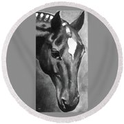 Horse Art Horse Portrait Red Black And White Round Beach Towel