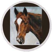 Horse Art Portrait Of Horse Maduro Round Beach Towel