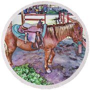 Horse At Zoo Round Beach Towel