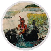 Horse Bath Round Beach Towel