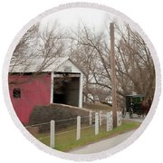 Horse Buggy And Covered Bridge Round Beach Towel