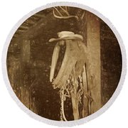 Horse Collar - Hat Round Beach Towel