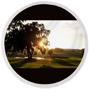 Horse Country Sunset Round Beach Towel