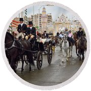 Horse Drawn Carriages And Women On Horseback Riding Sidesaddle O Round Beach Towel