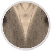 Horse Eyes Love Sepia Round Beach Towel