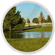 Horse Farm Pond Round Beach Towel