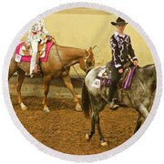 Horse Girls Round Beach Towel