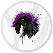 Horse Head Watercolor Silhouette Round Beach Towel