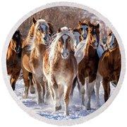 Horse Herd In Snow Round Beach Towel