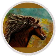 Horse In Heaven Round Beach Towel