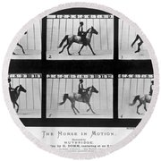 Horse In Motion, 1878 Round Beach Towel