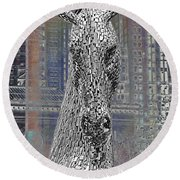 Horse In The City Round Beach Towel