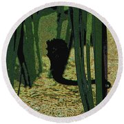 Horse In The Grass Round Beach Towel