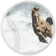 Horse In The Storm - Parallel Hatching Round Beach Towel