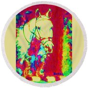 Horse Painting Jumper No Faults Psychedelic Round Beach Towel
