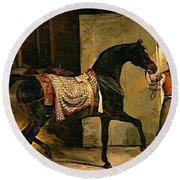 Horse Leaving A Stable Round Beach Towel